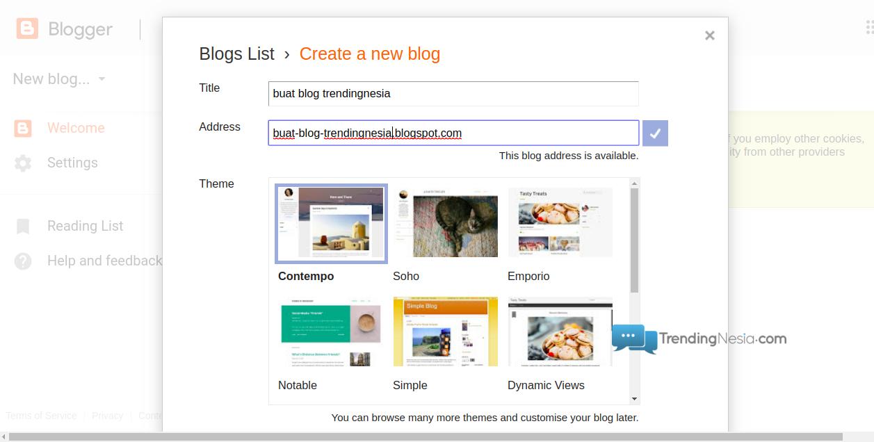buat nama dan url blog