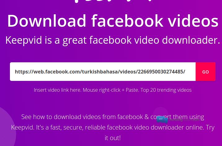 paste link video fb yang akan di download